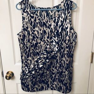 Maurice's XL Grey & Black Silky Sleeveless Blouse